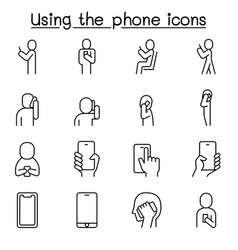 People are using smartphone icon set in thin vector