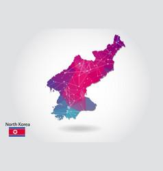 Polygonal north korea map low poly design map vector