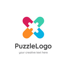 puzzle logo design negative space vector image