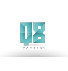 q8 q 8 alphabet letter number combination green vector image