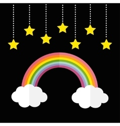 Rainbow and two white clouds Yellow stars hanging vector image