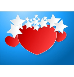 Red heart paper vector image