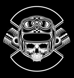 retro skull wearing helmet hand drawing vector image