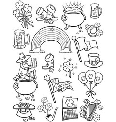saint patrick s day elements line art vector image