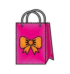 scribble cute gift bag cartoon vector image