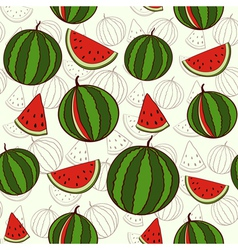 Seamless background with watermelons vector image