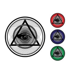 Set all seeing eye third eye colorful icons vector