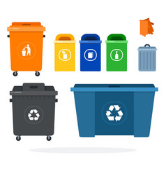 set garbage containers for recycling different vector image