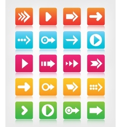 set of arrow navigation colorful buttons vector image