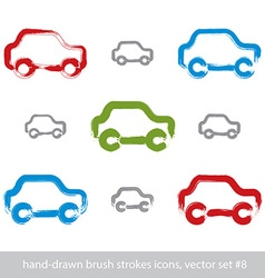 Set of hand-drawn stroke colorful car icons vector image