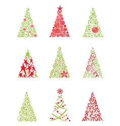 set of modern christmas trees vector image vector image