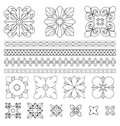 Set of square rosette elements vector image