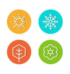 set seasons flat icons rounded style vector image
