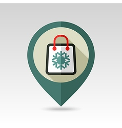 Shopping bag flat pin map icon vector image