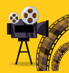 Short film video camera with reel filmstrip vector