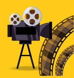 short film video camera with reel filmstrip vector image