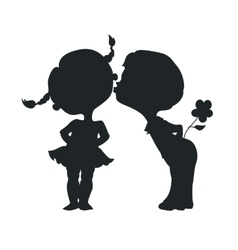Silhouettes of kissing boy and girl vector