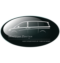Silver mini van on dark green background vector