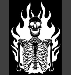 skeleton in flame design vector image