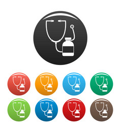 stethoscope medical bottle icons set color vector image