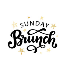 Sunday brunch calligraphy logo badge vector