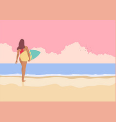 surfer girl walking on beach vector image