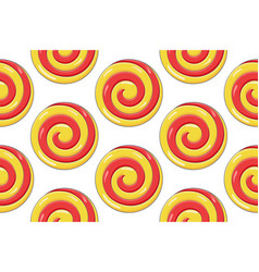 swirl lollipop red yellow sugar candy seamess vector image
