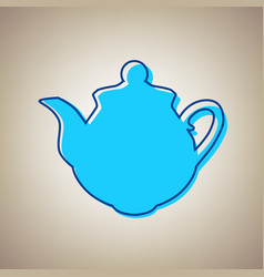 Tea maker sign sky blue icon with vector