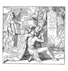 the stoning of zechariah vintage vector image