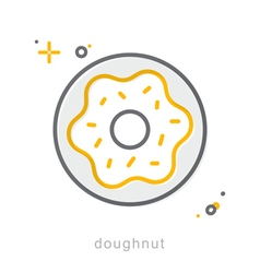 Thin line icons doughnut vector