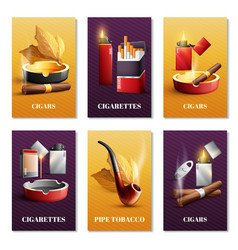 Tobacco products cards set vector