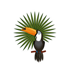 Toucan and tropical leaf vector