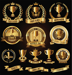 Trophy and awards laurel wreath golden collection vector