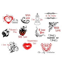 Valentines Day headers and scripts vector image