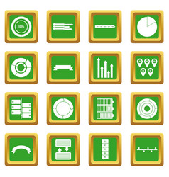 Various people icons set green vector