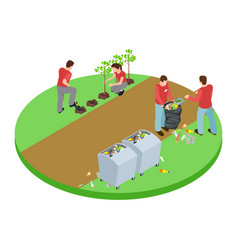 volunteers take out the trash in the park and vector image