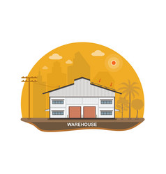Warehouse with solar panels on the roof vector