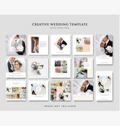 wedding social media post design template vector image