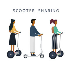 Women man on e-scooter are riding vector
