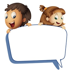 girl and boy holding callout picture vector image vector image
