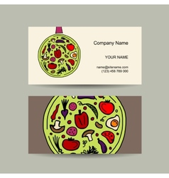 Pan with vegetables Business card design vector image
