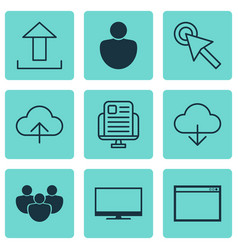 set of 9 internet icons includes data synchronize vector image vector image
