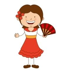 spanish girl character icon vector image