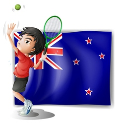 A young tennis player in front of the New Zealand vector image vector image