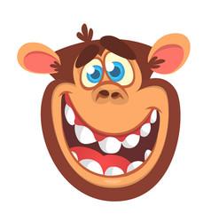 cartoon monkey head vector image vector image