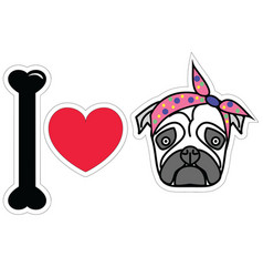 I love pug female pug with tie scarf vector image vector image