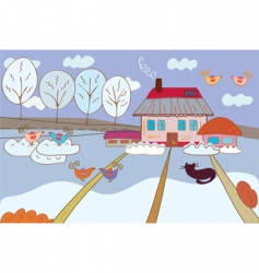 landscape winter vector image