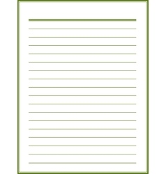 Notebook paper with green lines vector image vector image
