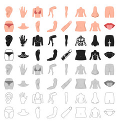 part of body set icons in cartoon style big vector image vector image