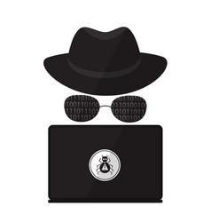 A computer hacker in sunglasses with a laptop vector